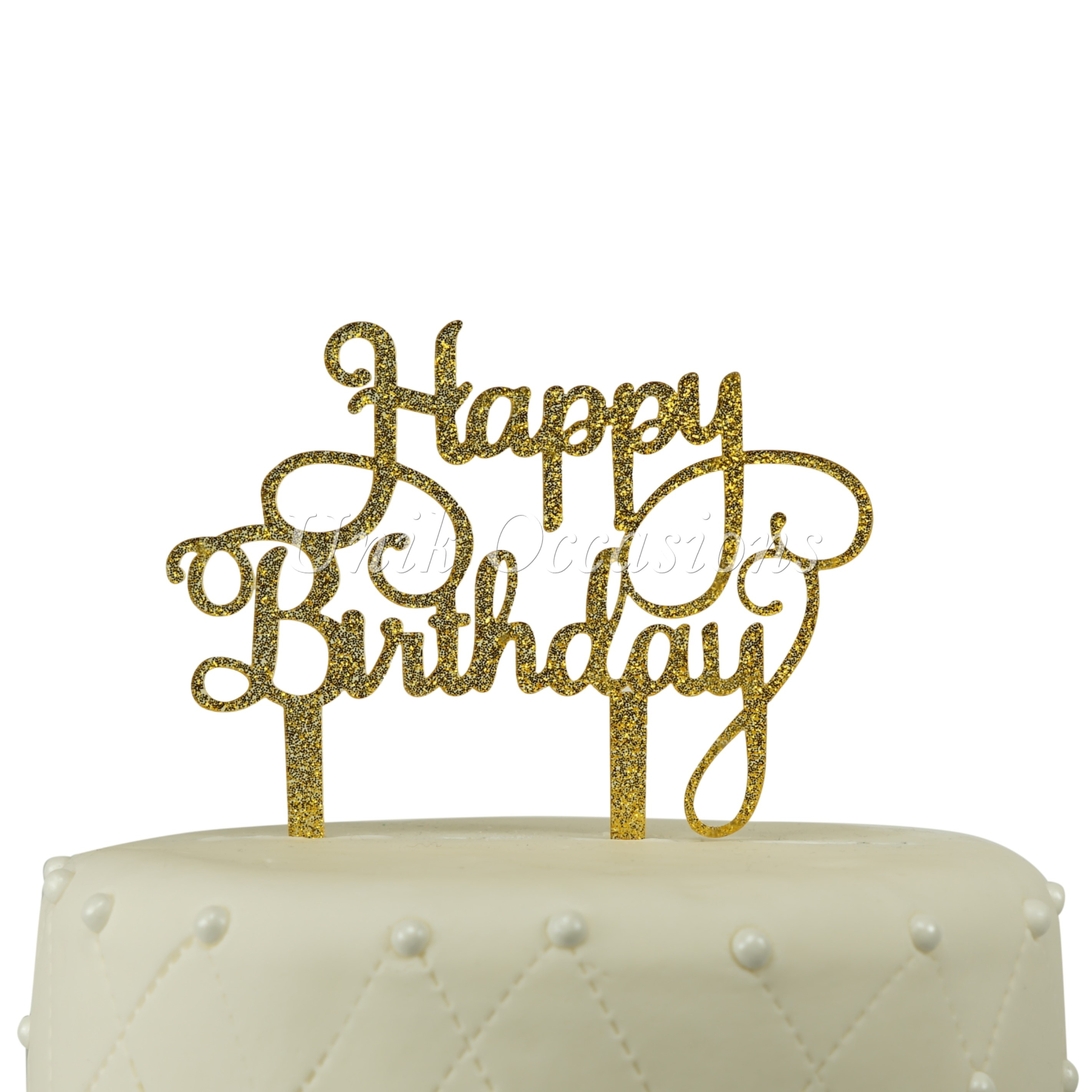 Unik Occasions Happy Birthday Acrylic Cake Topper Gold Glitter