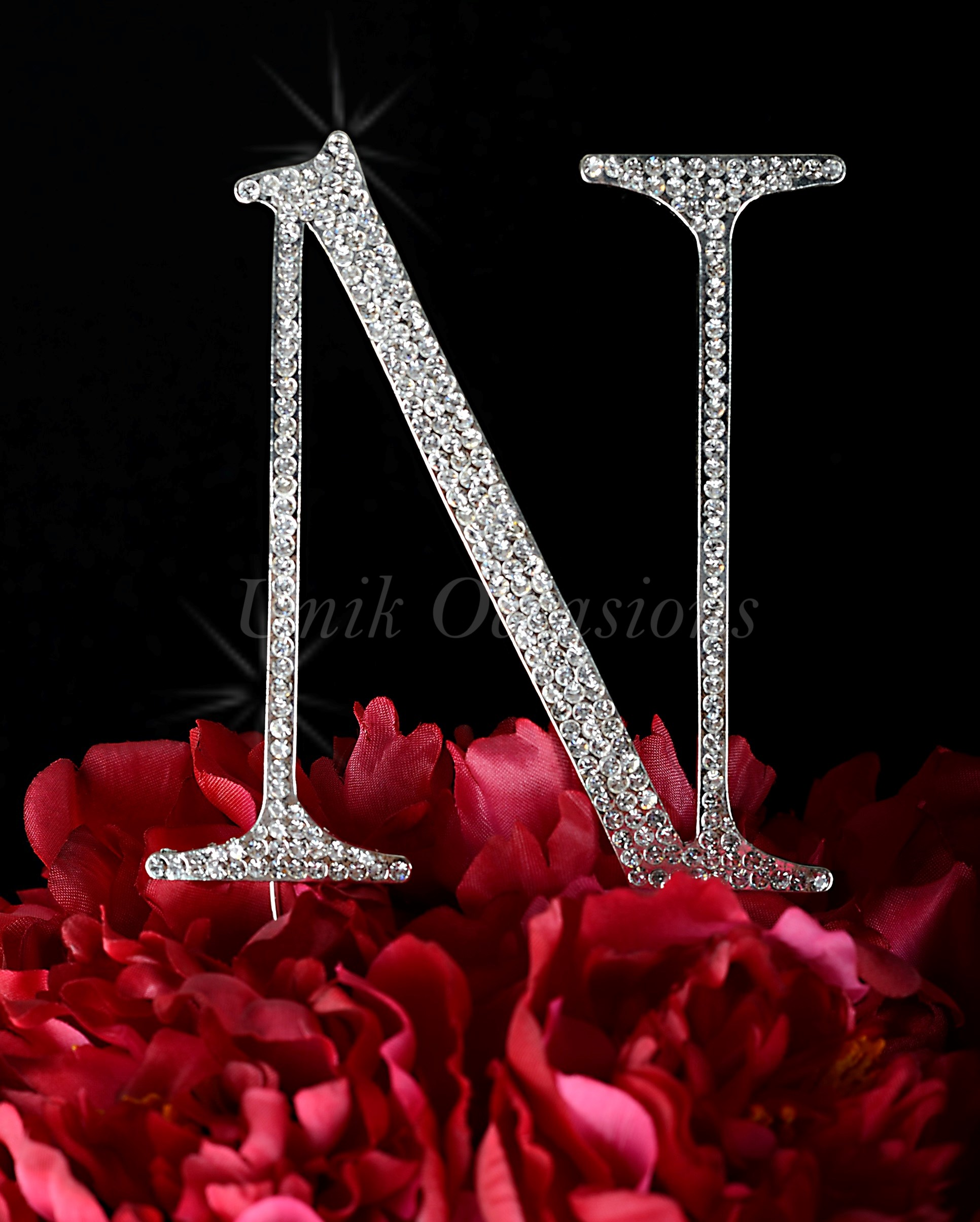 Silver Unik Occasions Collection Crystal Rhinestone Wedding Cake Topper Large Letter U
