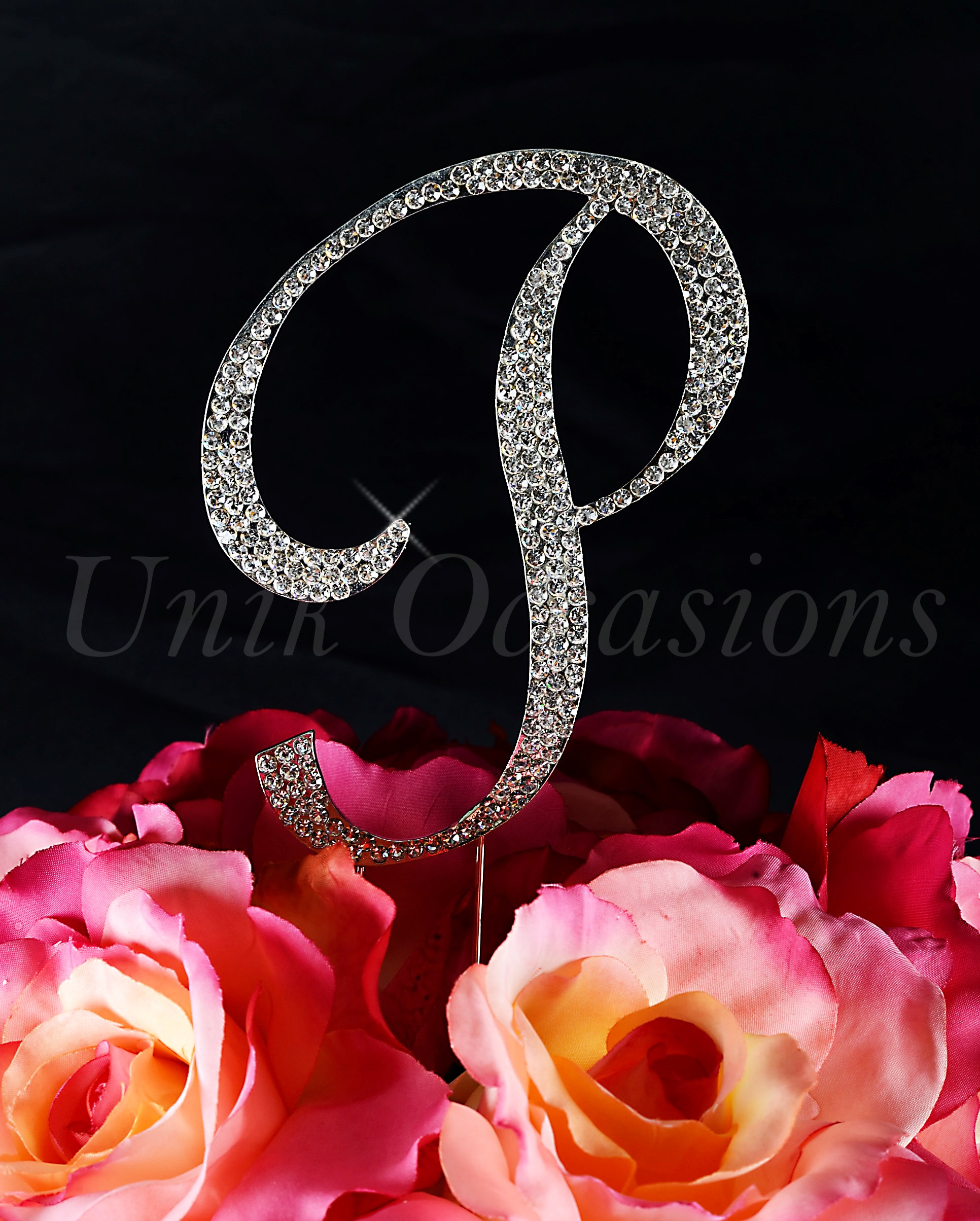 unik occasions - sparkling collection crystal rhinestone monogram cake topper