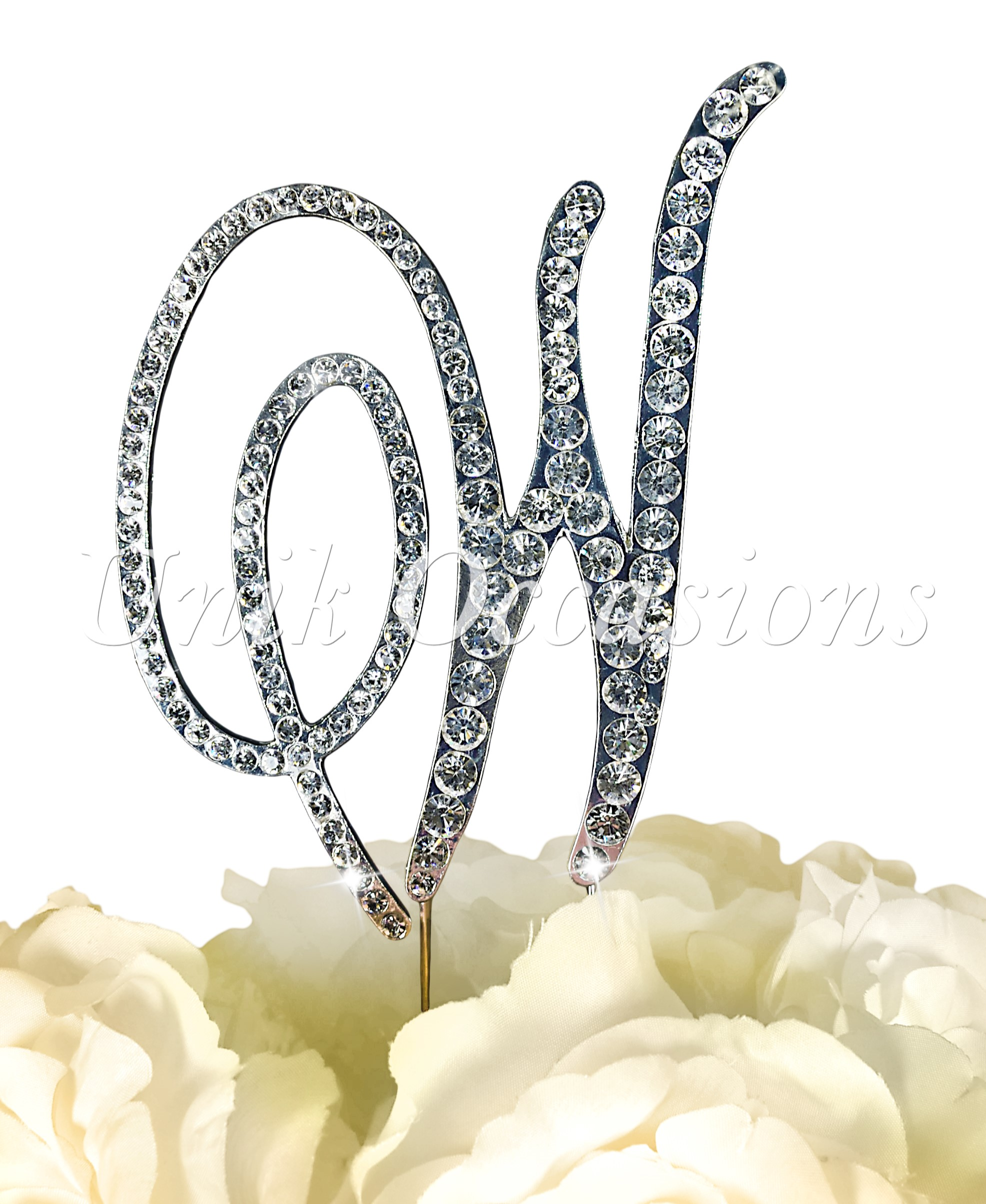 Large Unik Occasions Victorian Crystal Rhinestone Wedding Cake Topper Letter W Gold UO-CT-VIC-0038-W