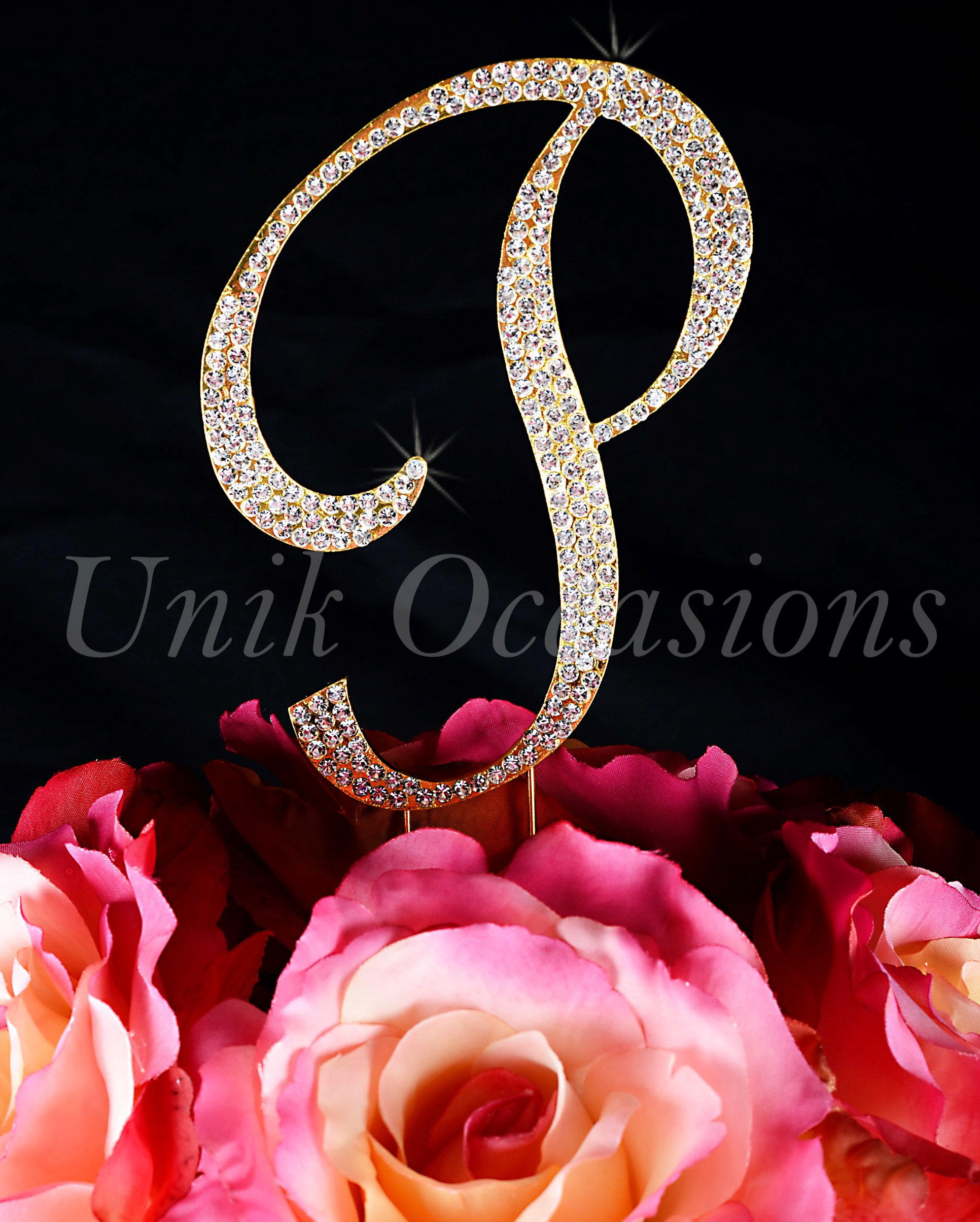 Cake Toppers Letter P : Unik Occasions - Sparkling Collection Crystal Rhinestone ...
