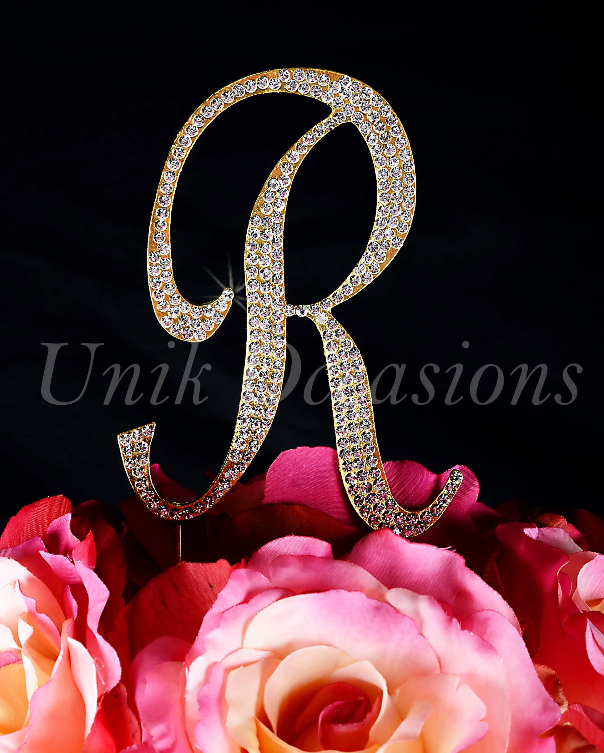 Unik occasions sparkling collection crystal rhinestone monogram unik occasions sparkling collection crystal rhinestone monogram cake topper letter r altavistaventures Image collections