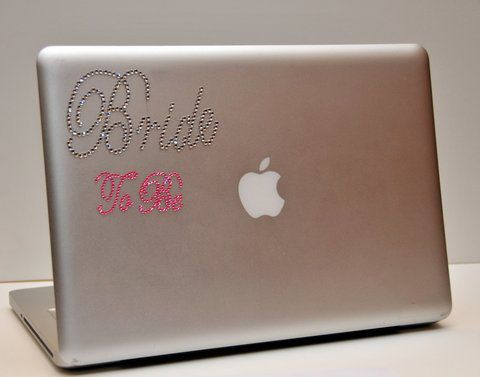 Rhinestone bride to be laptop decals stickers clear pink